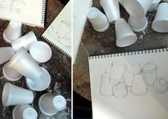 drawing ellipses: Styrofoam cups