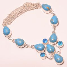 31 GM UNIQUE COPPER BLUE TURQUOISE, BLUE TOPAZ .925 STERLING SILVER NECKLACE #Handmade