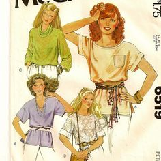 A Extended Shoulder, Short or Long Sleeve T-Shirt Pattern with Collar Variations, Vintage 1979