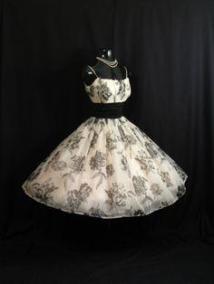 Vintage 1950's 50s Bombshell Black White Floral Print Chiffon Organza Taffeta Party Prom Wedding DRESS by VintageVortex on Etsy https://www.etsy.com/listing/209424989/vintage-1950s-50s-bombshell-black-white