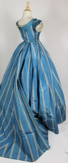French Blue with Wide Gray Stripes Silk Taffeta Gown with Two Bodices C 1860 |