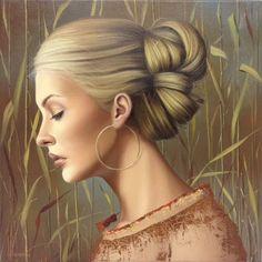 by Ginette Beaulieu Female Portrait, Portrait Art, Female Art, Woman Portrait, Portrait Paintings, Art Paintings, Anime Comics, Portraits, Gold Art