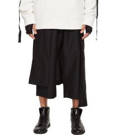 D.GNAK Asymmetric Skirt Layered Pants (Black) Men's Casual Pants