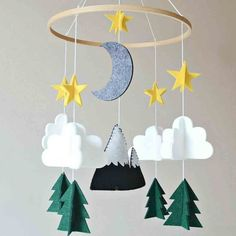 Items similar to Baby Mobile - Woodland Mobile - Nursery Mobile - Nursery Decor - Felt Mobile on Etsy Cot Mobile, Baby Crib Mobile, Baby Cribs, Mobile Art, Mobile House, Hanging Crib, Hanging Mobile, Nursery Decor Boy, Baby Room Decor