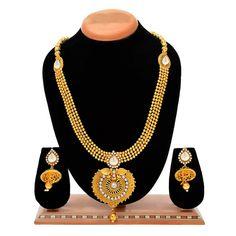 Aaishwarya Traditional Golden Toned White Stones Long Haar Necklace Sets #necklaceset #traditionalnecklaceset #longhaar #ethnicjewelry #fashionjewelry #longnecklaceset #goldennecklaceset