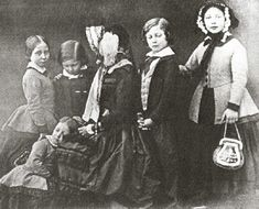Group photographic print, copy of a daguerreotype, of Queen Victoria seated with Prince Alfred Princess Alice Princess Helena Albert Edward, Prince of Wales later King Edward VII; Queen Victoria Children, Queen Victoria Family, Queen Victoria Prince Albert, Victoria Reign, Victoria And Albert, Princesa Victoria, Reine Victoria, Royal Families Of Europe, British Royal Families