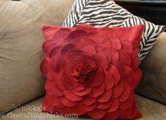 Felt Flower Pillow  Create a flower petal pillow that will add a little flair to any room.