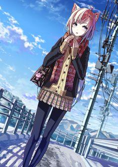 ✮ ANIME ART ✮ neko. . .cat girl. . .cat ears. . .school uniform. . .pleated skirt. . .cardigan. . .scarf. . .school bag. . .tights. . .power lines. . .sky. . .cute. . .kawaii