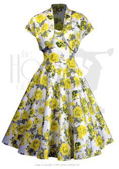 50s Halterneck Swing Dress Set - Yellow Rose