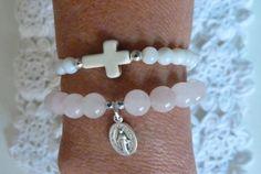 beachcomber pink rose quartz bracelet french by beachcomberhome, $18.00