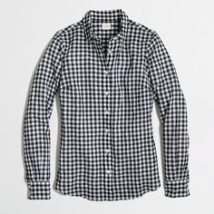 Factory classic button-down shirt in suckered gingham ($88) ❤ liked on Polyvore featuring tops, shirts, j crew factory, button up tops, gingham shirt, extra long sleeve shirts, longsleeve shirts and shirts & tops