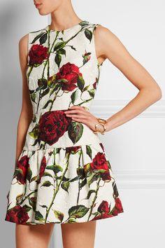 Dolce & Gabbana|Mini-robe en brocart de coton mélangé à imprimé fleuri|NET-A-PORTER.COM