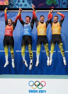 Gold medalists Natalie Geisenberger, Felix Loch, Tobias Wendl and Tobias Arlt of Germany celebrate during the flower ceremony for the the Luge Relay (c) Getty Images Youth Olympic Games, Winter Olympic Games, Winter Olympics, Bobsleigh, Luge, Olympic Athletes, Gym Style, Sport Man