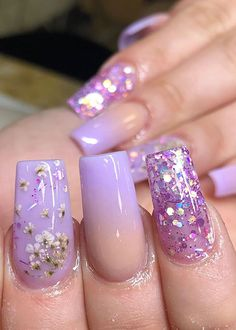 If you want cute ombre nails that suit summertime in 2019 then check our cherry-picked ombre acrylic nails between purple, blue, yellow, and pink ombre nails. Purple Nail Designs, Acrylic Nail Designs, Summer Acrylic Nails, Best Acrylic Nails, Gorgeous Nails, Pretty Nails, Purple Ombre Nails, Purple Nail Art, Nagel Hacks
