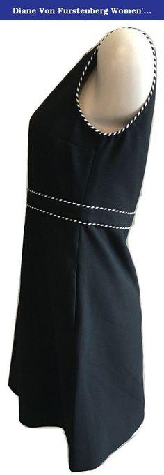 Diane Von Furstenberg Women's Leelou Sleeveless Sheath Dress Black Size 6. Diane von Furstenberg Leelou dress in crepe with braided trim. V neckline. Sleeveless; full shoulder coverage. Seamed at high waist. A-line skirt. Back zip. Polyester/viscose/cotton/spandex. Imported.