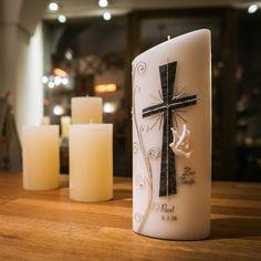 #taufkerze www.candela.at Pillar Candles, Coffee, Drinks, Candles, Kaffee, Drinking, Drink, Taper Candles, Coffee Art