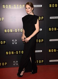 Julianne Moore wearing @balenciagaparis and Christian Louboutin – 'Non Stop' Paris Premiere #2014