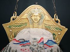 This Egyptian Revival purse features a wonderfully detailed pharaoh that has just a touch of color applied to the headdress and wings. A great piece. The purse body is a replacement, an unusual Chinese-themed petit point bag. Vintage Purses, Vintage Bags, Vintage Love, Vintage Handbags, King Tut Tomb, Novelty Bags, Handmade Handbags, Beaded Bags, Beautiful Bags