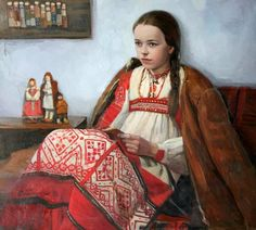 """Peasant's Daughter""   by Sayda Afonina (1965, Russian)"