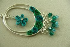 Paper Quilled Teal and Turqouise Necklace by BardInAGarden on Etsy. This is interesting by all means ~!~