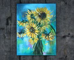 Original Oil Art Sunflowers Oil Painting Art by BarbaraGallery