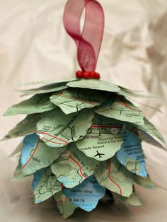 Pinecone Map Ornament. So easy and fun to make! http://www.hgtv.com/handmade/20-easy-handmade-holiday-ornaments-and-decorations/pictures/page-12.html?soc=pinterest