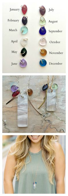 Create a beautiful & sentimental, birthstone inspired necklace that is modern and easy to wear! Handmade glass, made in California, available in sterling silver or gold filled/ www.graycglass.com
