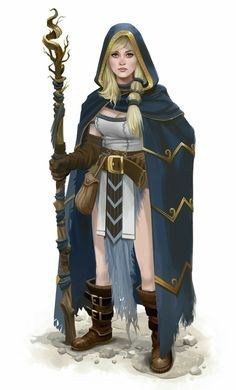 Cloaked Female Druid - Pathfinder PFRPG DND D&D d20 fantasy