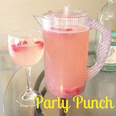 Party Punch - So easy to make and perfectly refreshing! 1 bottle (1.5L) of Moscato, 3 cups of Sprite, and 1 can of pink lemonade frozen concentrate. Mix together and serve over ice with raspberries as a garnish.