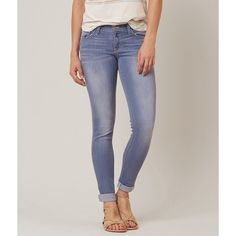 Flying Monkey Ankle Skinny Stretch Jean ($60) ❤ liked on Polyvore featuring jeans, blue, slim jeans, stretch skinny jeans, blue jeans, cuffed jeans and low rise jeans