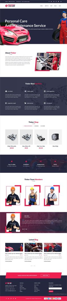 Tinker is a professional 5in1 responsive #WordPress theme for #car repair shop, auto #workshop, garages and car wash centers website download now➩ https://themeforest.net/item/tinker-auto-mechanic-car-repair-wordpress-theme/19328646?ref=Datasata