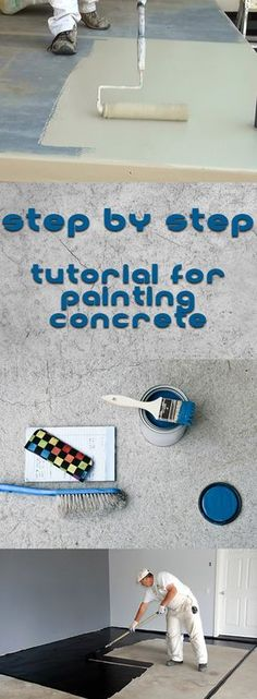 Ideen Beton Step By Step Tutorial For Painting Concrete (Cement Step Makeover) Your Tip for Calming Painted Concrete Steps, Painted Cement Floors, Cement Steps, Painting Cement, Concrete Cement, Stained Concrete, Diy Painting, Ideas For Concrete Floors, Painting Concrete Patios
