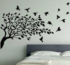 Wallpaper Wall Decals Stickers Art Vinyl Removable Birdcage Bird Tree - Bird wallpaper stickers