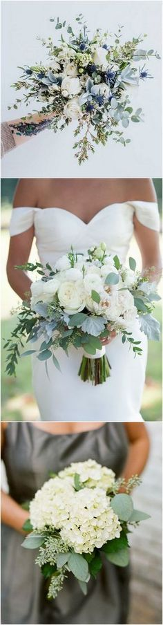 "white green and blue wedding bouquet ideas. * lol at this idea: Making a blue accent in your bouquet and you have Your ""Something Blue"""