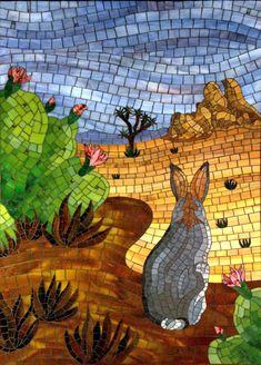 Joshua Tree - stained glass mosaic with millefiori, by Christine Brallier Mosaics, www.cbmosaics.com