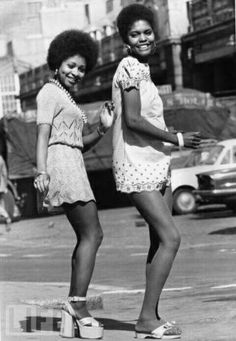 Kenyan women in the 1970s being free and wearing what they want to wear & dressing for the weather they have.