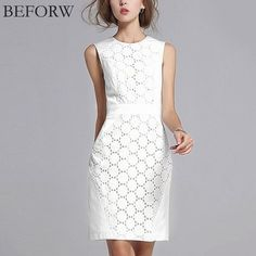 2017 Summer Dress Women Sexy Sleeveless Solid Color Slim Plus Size Dresses Fashion Casual Club Plus Size White Lace Mini Dress Elegant Dresses, Casual Dresses, Fashion Dresses, Summer Dresses For Women, Dresses For Work, Dress Summer, White Lace Mini Dress, Elegant Woman, Plus Size Dresses
