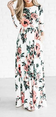 Womens Retro Floral Print 3/4 Sleeve Summer Beach Party Boho Long Maxi Dress