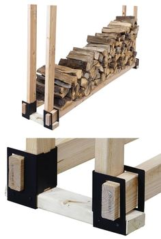 Firewood rack adjustable steel set by Pleasant Hearth Outdoor Firewood Rack, Firewood Holder, Firewood Shed, Firewood Storage, Wood Holder For Fireplace, Cabin Fireplace, Fire Pit Accessories, Wood Storage Sheds, Wood Store