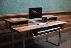 Hate the wood panelling, but the desk, keyboard, and chalkboard are super clutch.