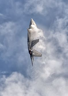 The F-22 hangs in the air on the thrust of its powerful engines