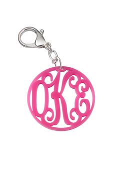 Acrylic Monogram Key Chain. Available in a variety of colors at www.marianicolegifts.com