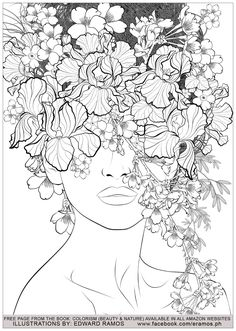 Color therapy An Anti Stress Coloring Book Beautiful Beauty and Nature Edward Ramos 7 Anti Stress Adult Coloring Pages Coloring Pages Nature, Printable Adult Coloring Pages, Mandala Coloring Pages, Coloring Book Pages, Coloring Sheets, Anti Stress Coloring Book, Elements Of Art, Drawing Tutorials, Style Beyonce