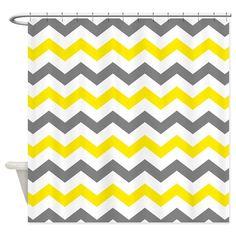 A modern chevron zig zag pattern in yellow, gray and white.