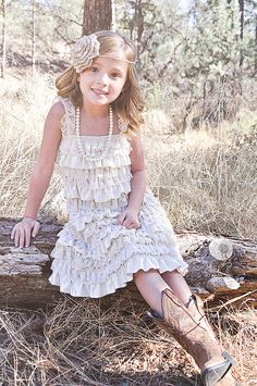 Rustic Country Flower Girl Dress -Lace Pettidress-Champagne Flower Girl…