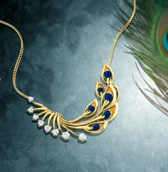 Peacock collection at Caratlane. Gold Mangalsutra Designs, Gold Jewellery Design, Gold Jewelry, Peacock Jewelry, Peacock Ring, India Jewelry, Schmuck Design, Pendant Jewelry, Wedding Jewelry