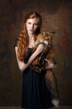 """The girl looks as if someone said that she can't have her fox anymore and then she's just like, """"Bitch who do u think I am u must b mad bruv, if u think that ur taking my fam away from me, u need 2 get off drugs ASAP. Fantasy Photography, Beauty Photography, Portrait Photography, Fox Art, Beautiful Redhead, Beautiful Clothes, Beautiful Creatures, Beauty And The Beast, Redheads"""