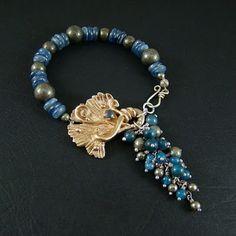 Srebrny Kot - bracelet - Blue and gold ginkgo - goldie bronze clay