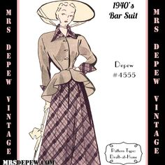 Vintage Sewing Pattern 1940s Ladies' Bar Suit in Any Size