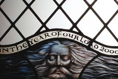 All Saint's Church, Broughton, Cambs. Detail of a stained glass window by Benjamin Finn